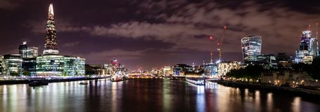 London Skyline panorama. A panoramic long exposure of the London Skyline Royalty Free Stock Image