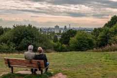 The London skyline from the Parliament Hill. royalty free stock photos
