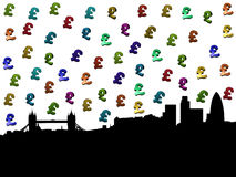 London skyline with pound symbols. London skyline with Tower Bridge and colourful pound symbols illustration Royalty Free Stock Images