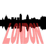 London Skyline with pound text. London Skyline including St Pauls Cathedral with pound symbol text illustration Stock Photo