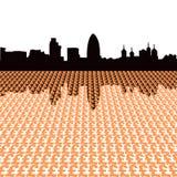 London skyline with pounds. London skyline with pound symbols illustration Royalty Free Stock Photography