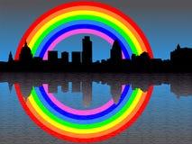 London skyline with rainbow Royalty Free Stock Photo