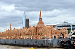 London 1666 skyline replica. London, Blackfriars : 4th September, 2016. For the Great Fire 350th anniversary a wooden replica of 1666 London designed by American royalty free stock photo