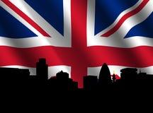 London Skyline with rippled Flag Stock Photos