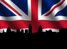London skyline with rippled flag Stock Images