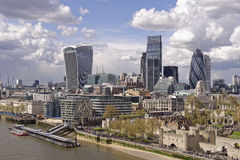 London skyline. The rise of modern architecture taken from tower bridge, london, england Stock Images