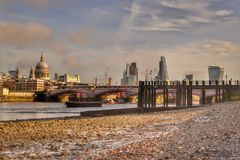 London skyline river Thames low tide Stock Image