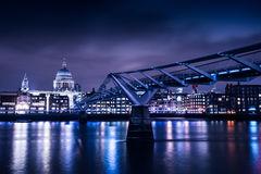 London skyline on River Thames on moody night. Iconic view of the London skyline at night stock images