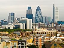 London Skyline. From a rooftop in south east London. The buildings include the Gherkin, (30 St Mary Axe) Heron Towers and Tower 42 royalty free stock photos