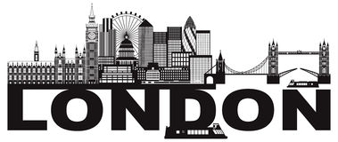 London-Skyline-Schwarzweiss-Textvektor Illustration Stockbilder
