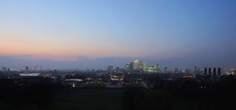 London Skyline seen from Greenwich Park Royalty Free Stock Image