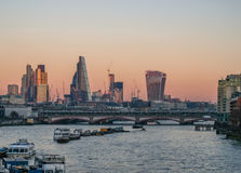 London skyline shot taken from Waterloo Bridge looking towards t Royalty Free Stock Image