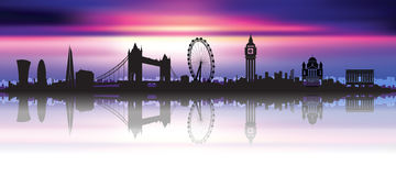 London Skyline Silhouette beautiful sky. London Skyline Silhouette in a beautiful night sky Royalty Free Stock Image