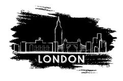 London Skyline Silhouette. Hand Drawn Sketch. Royalty Free Stock Photography