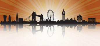 London Skyline Silhouette Sunset. London Skyline Silhouette in sunset background Royalty Free Stock Image