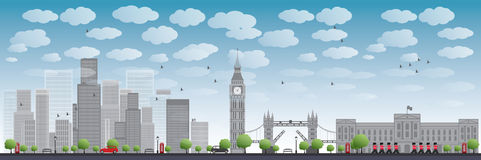 London skyline with skyscrapers and clouds Stock Photo
