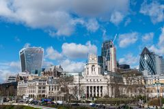 London Skyline with skysrapers on blue backgroung. London Skyline with skysrapers, blue backgroung Stock Photos