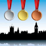 London skyline with sport. Vector illustration of 3 medals Royalty Free Illustration