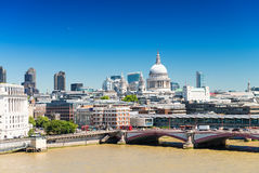 London skyline with St Paul Cathedral Stock Photos