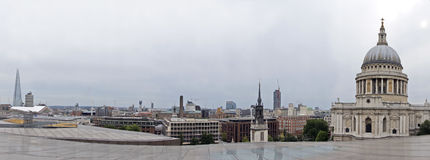 London skyline. St Paul's Cathedral in the city of London with its distinguishing dome roof and cross on top of this religious building on this skyline picture Royalty Free Stock Images