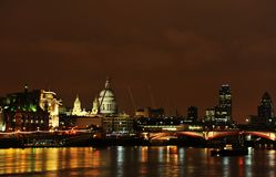 London skyline with St Pauls Cathederal. London skyline with St Pauls Cathederal and the Thames Royalty Free Stock Photo