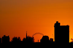 London skyline, sunset. London Silhouette skyline in sunset royalty free stock images
