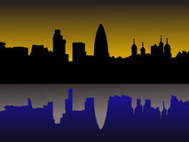 London skyline  at sunset. London skyline including gherkin and Tower of London at sunset illustration Stock Photos