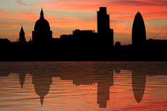 London skyline at sunset. St Paul's cathedral and London skyscrapers at sunset illustration Stock Image