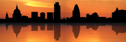 London skyline at sunset. Panoramic view of St Pauls Cathedral and London skyline reflected at sunset illustration Stock Photography