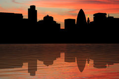 London Skyline at sunset. London Skyline including Gherkin and Monument at sunset illustration Royalty Free Stock Images