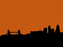 London skyline at sunset. London skyline with Tower bridge and skyscrapers at sunset illustration Royalty Free Stock Image