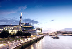 London skyline at sunset along Thames Royalty Free Stock Photography