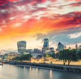 London skyline at sunset along Thames Royalty Free Stock Photos