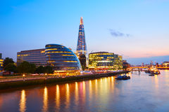 London skyline sunset City Hall and Shard Royalty Free Stock Photo