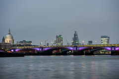 London skyline at sunset from river Thames Royalty Free Stock Photo