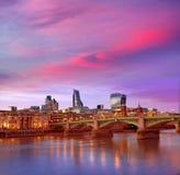 London skyline sunset Southwark bridge UK Royalty Free Stock Photos