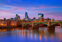 London skyline sunset Southwark bridge UK Royalty Free Stock Photo