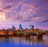 London skyline sunset Southwark bridge UK Stock Photography