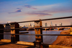 London skyline at sunset from Thames Royalty Free Stock Image