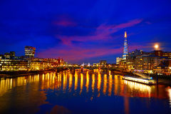 London skyline sunset on Thames river Royalty Free Stock Images
