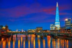 London skyline sunset on Thames river. Reflection at UK stock image
