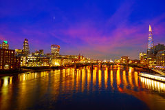 London skyline sunset on Thames river Royalty Free Stock Photo