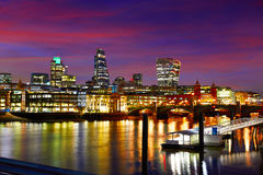 London skyline sunset on Thames river Royalty Free Stock Image