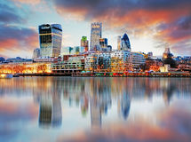 London skyline. At sunset, UK stock images