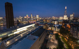 London skyline from the Tate Modern at dusk royalty free stock photography