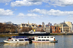 London skyline from Thames river Royalty Free Stock Photography