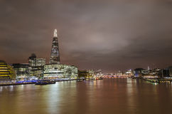 London skyline and Thames river. New London city hall and shard panoramic view on river from tower bridge Royalty Free Stock Photo