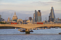 London Skyline towards The City with Red Bus Stock Image