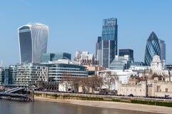 London skyline from Tower bridge, London, UK Royalty Free Stock Photo