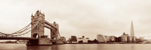 London skyline. With Tower Bridge and Shard over Thames River stock photography